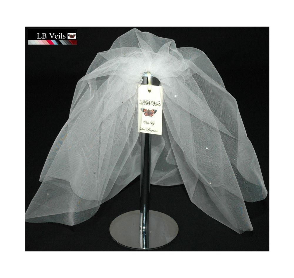 Bouffant Wedding Veil White Short Shoulder Crystal Diamante All Over LBV154 UK