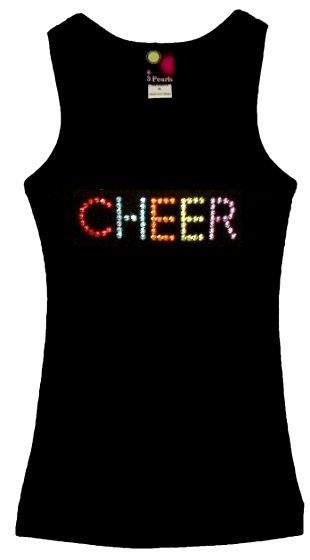 Girls beater Tank Top with CHEER in color rhinestuds. [072-7005] - $22.33 : 3 Pearls Kids, Customized Rhinestone T-Shirts and Clothing