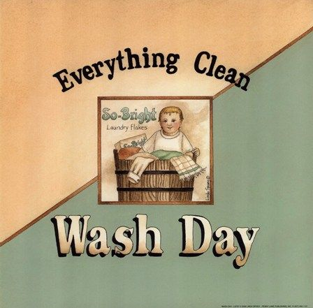Vintage Wash Day Laundry Wash Day Fine Art Print By Linda Spivey