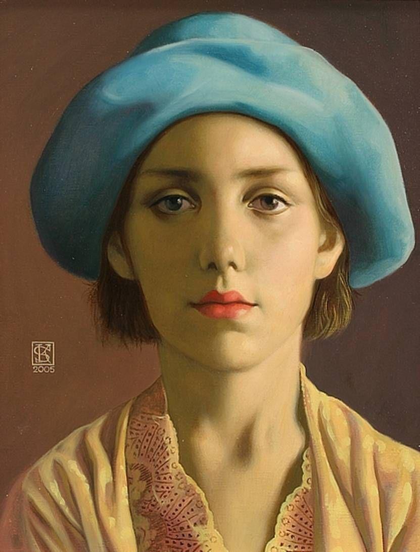 """""""portrait In Hat"""" Yaroslav Kurbanov Russian . 1968 Oil Canvas 2005 Figurative Art"""