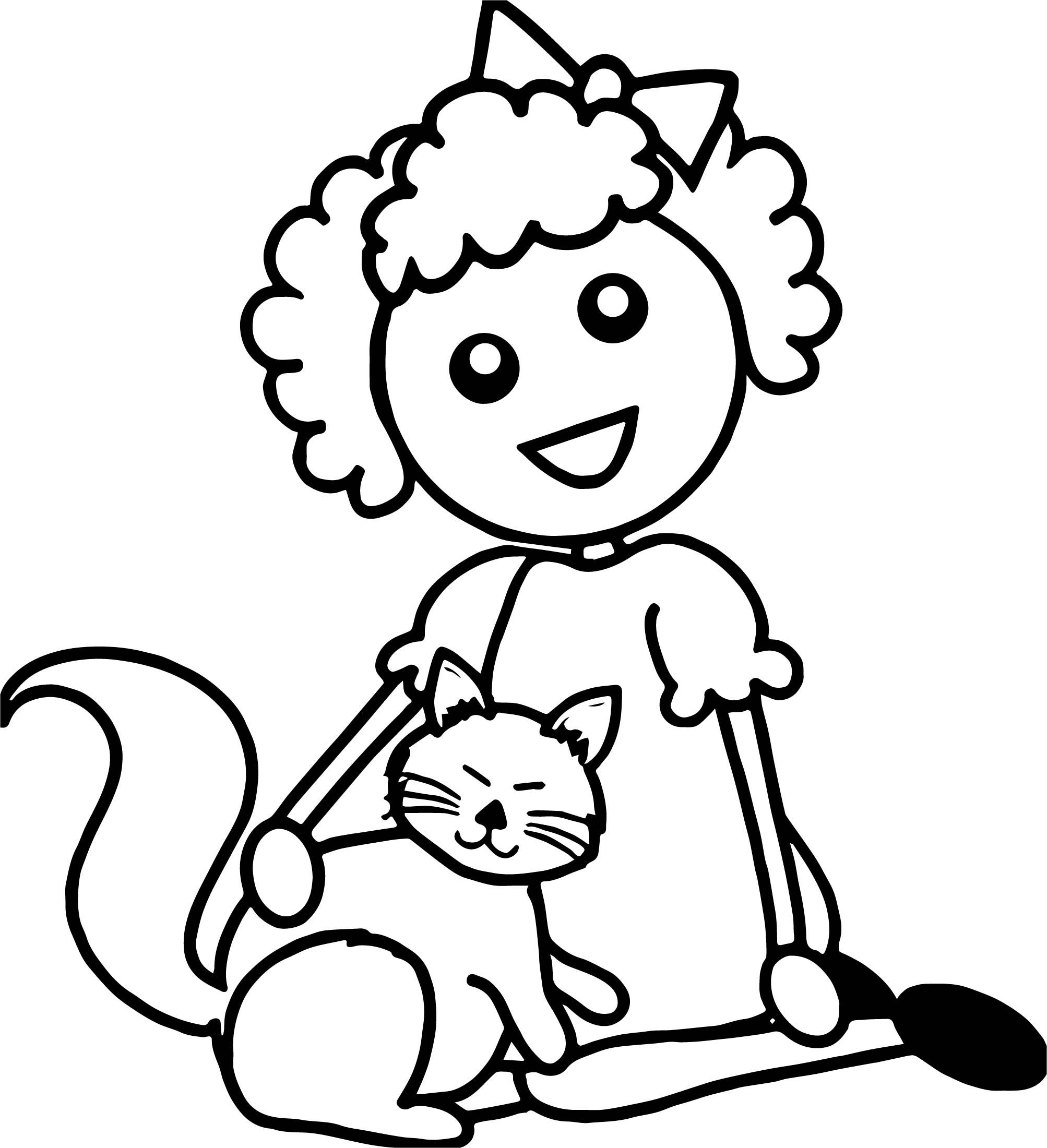Cool Haired Cartoon Girl Sitting With Her Cat Coloring Page With