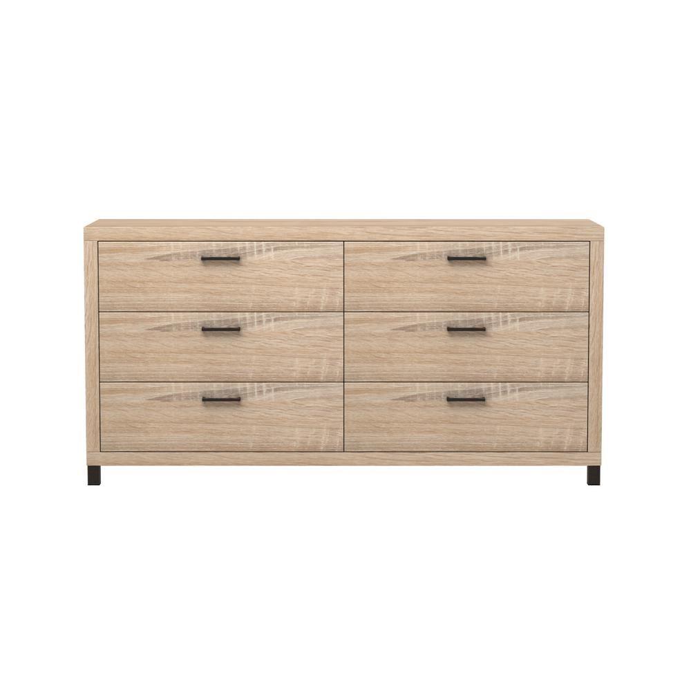 Thornton 6 drawer driftwood brown dresser
