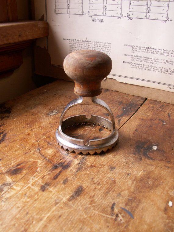 Vintage Ravioli Cutter Vintage Wood Handled Ravioli Cutter Crimper Made By Copperandtin Vintage Wood Ravioli Cutter Wood Handle