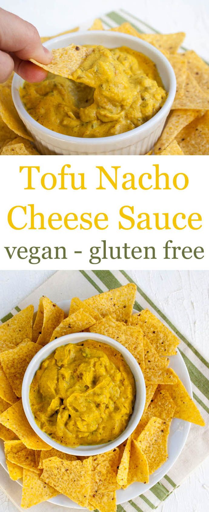 Tofu Nacho Cheese Sauce (vegan, glutenfree) - This easy recipe for Tofu Nacho Cheese Sauce is spicy, thick, and chunky with loads of flavor! Perfect for Game Day! (Simple Nacho Cheese)