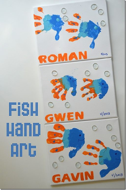 DIY Fish Hand Art - Fish Birthday Party. Idea for an activity with ...