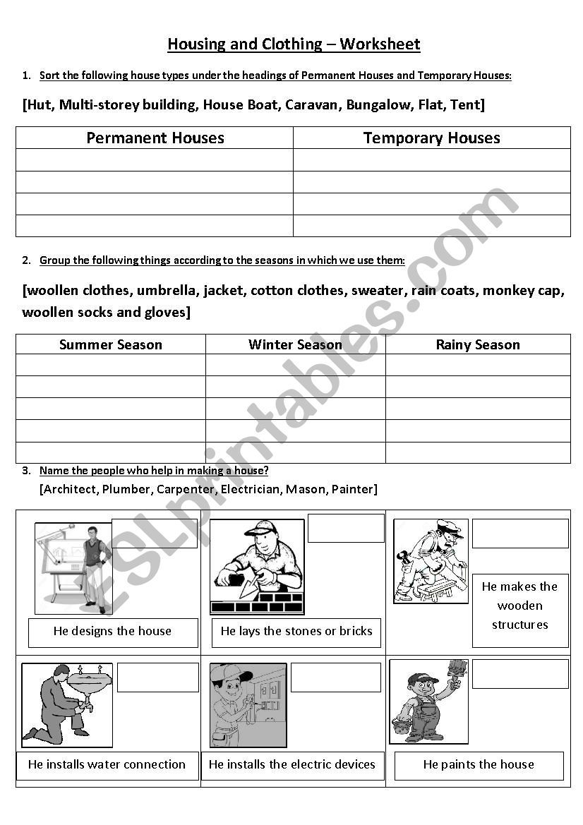 Housing And Clothing ESL worksheet by vighnajith in 2020