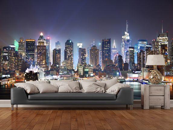New York Manhattan Skyline at Night New york bedroom