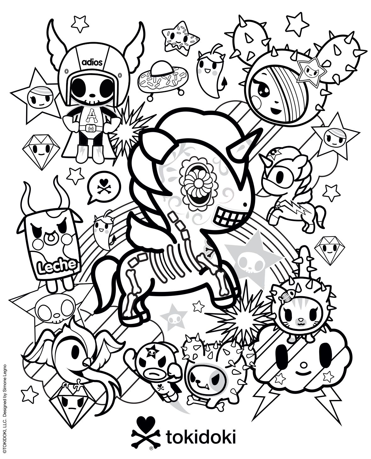 Tokidoki Colouring Page Unicorn Coloring Pages Kitty Coloring Cute Coloring Pages