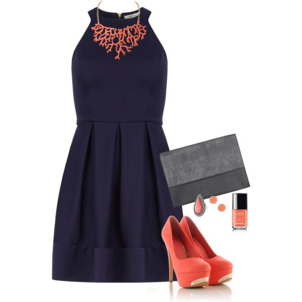 Vestido azul marino complementos