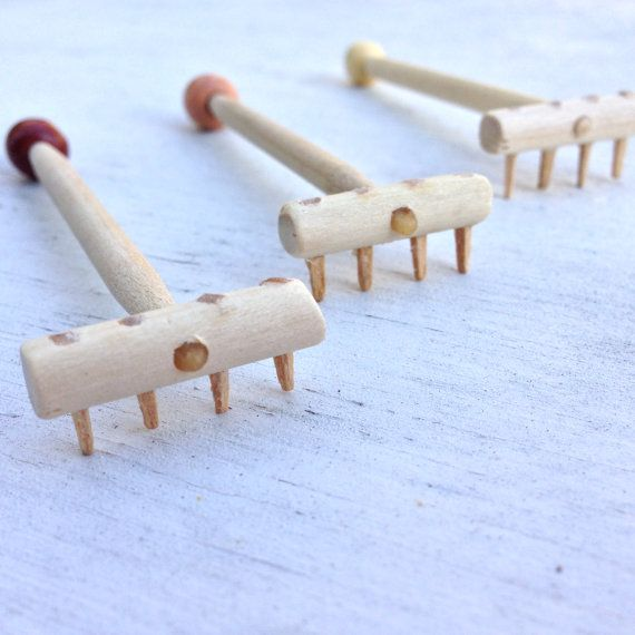 Mini Wooden Zen Garden Rake 3x1 by TeMadeDesigns on Etsy
