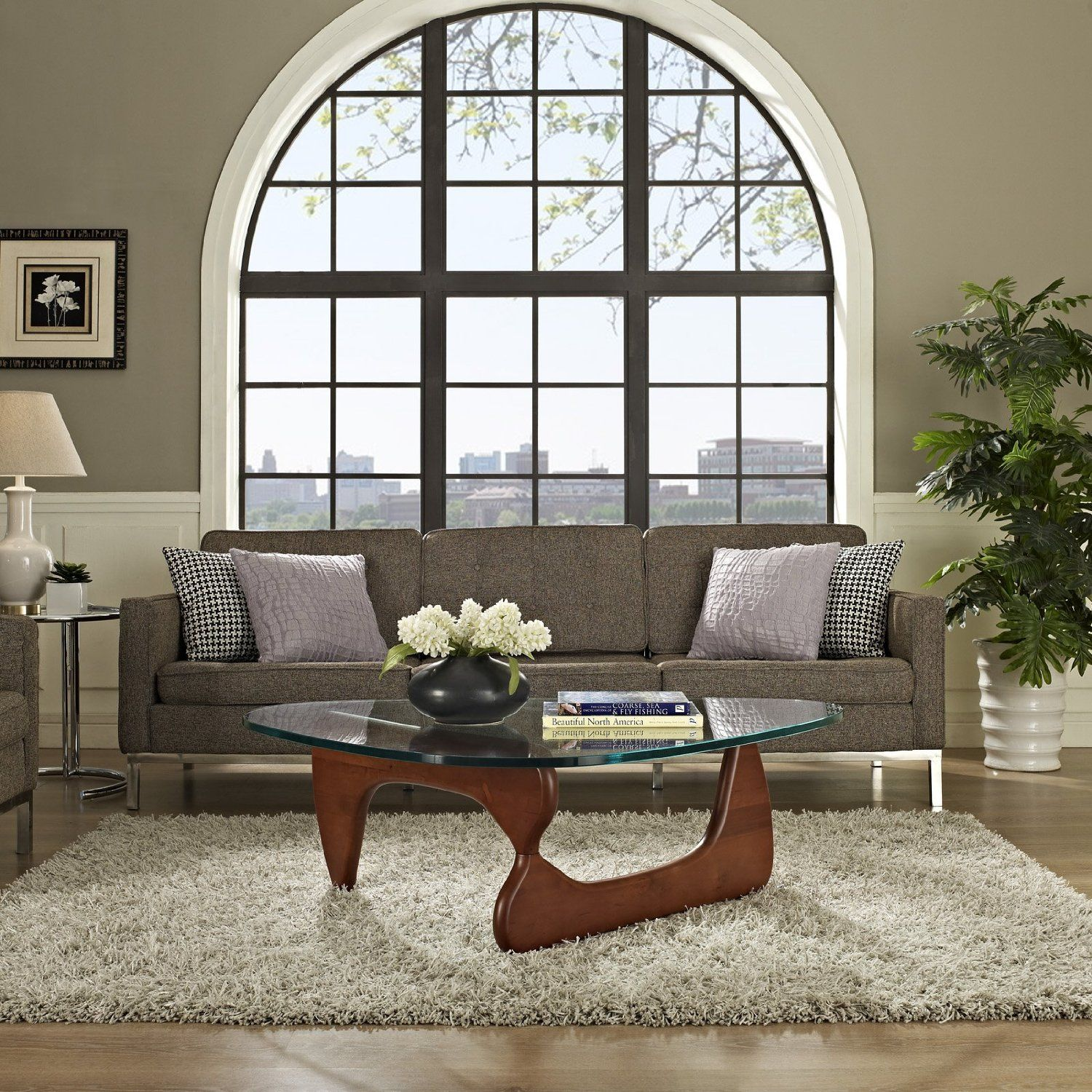 Alluring Collapse Coffee Table And White Fur Rug With Glass Window