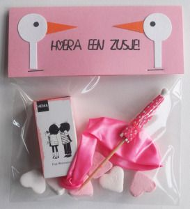 Kadozakje Geboorte Zusje Cards Tags Bags And Boxes Baby Kids
