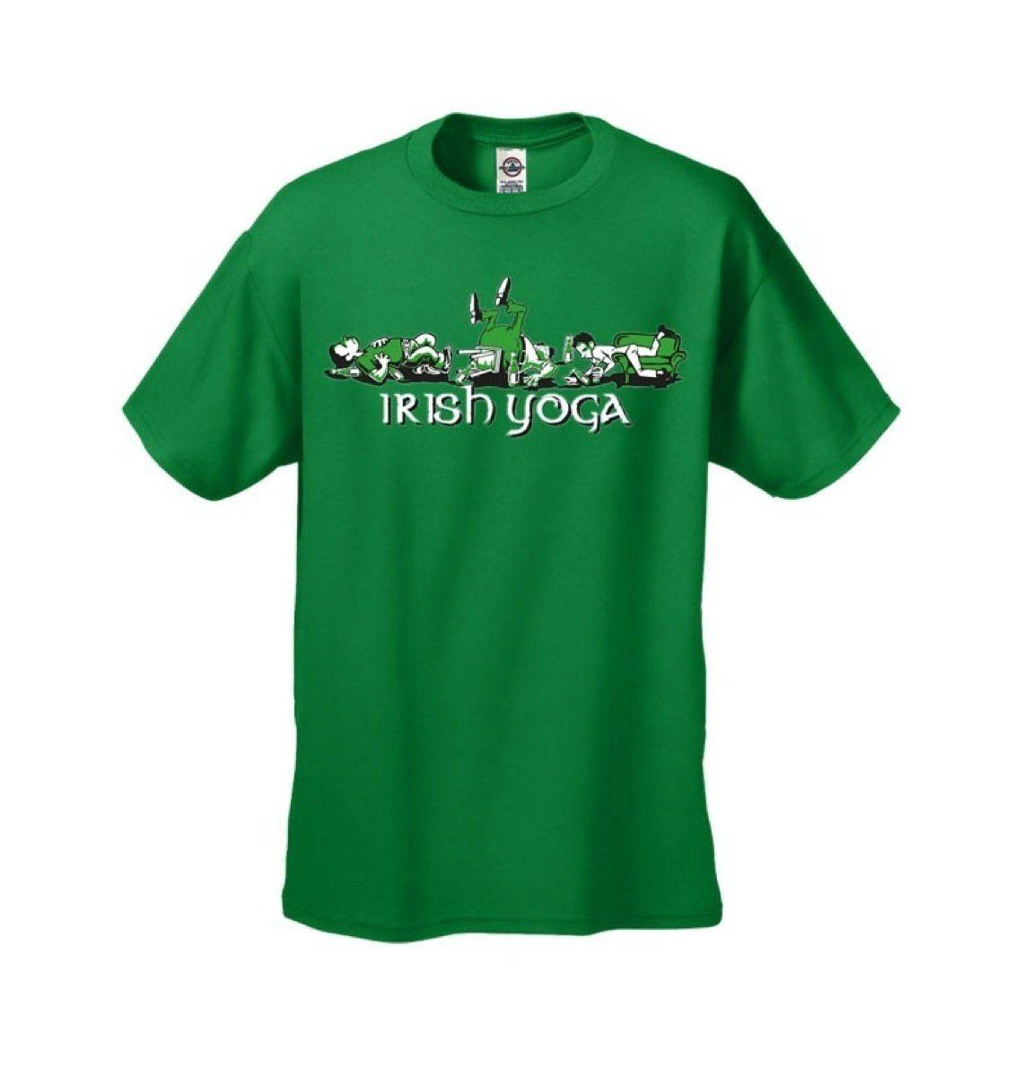 Funny T-shirt Mens Tshirt Irish Yoga Short Sleeve