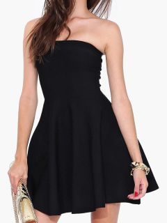 081216bc7e Shop Black Strapless Mini Skater Dress from choies.com .Free shipping  Worldwide. 27.99