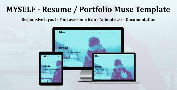 MYSELF - Resume or portfolio Muse Template Template, Advertising