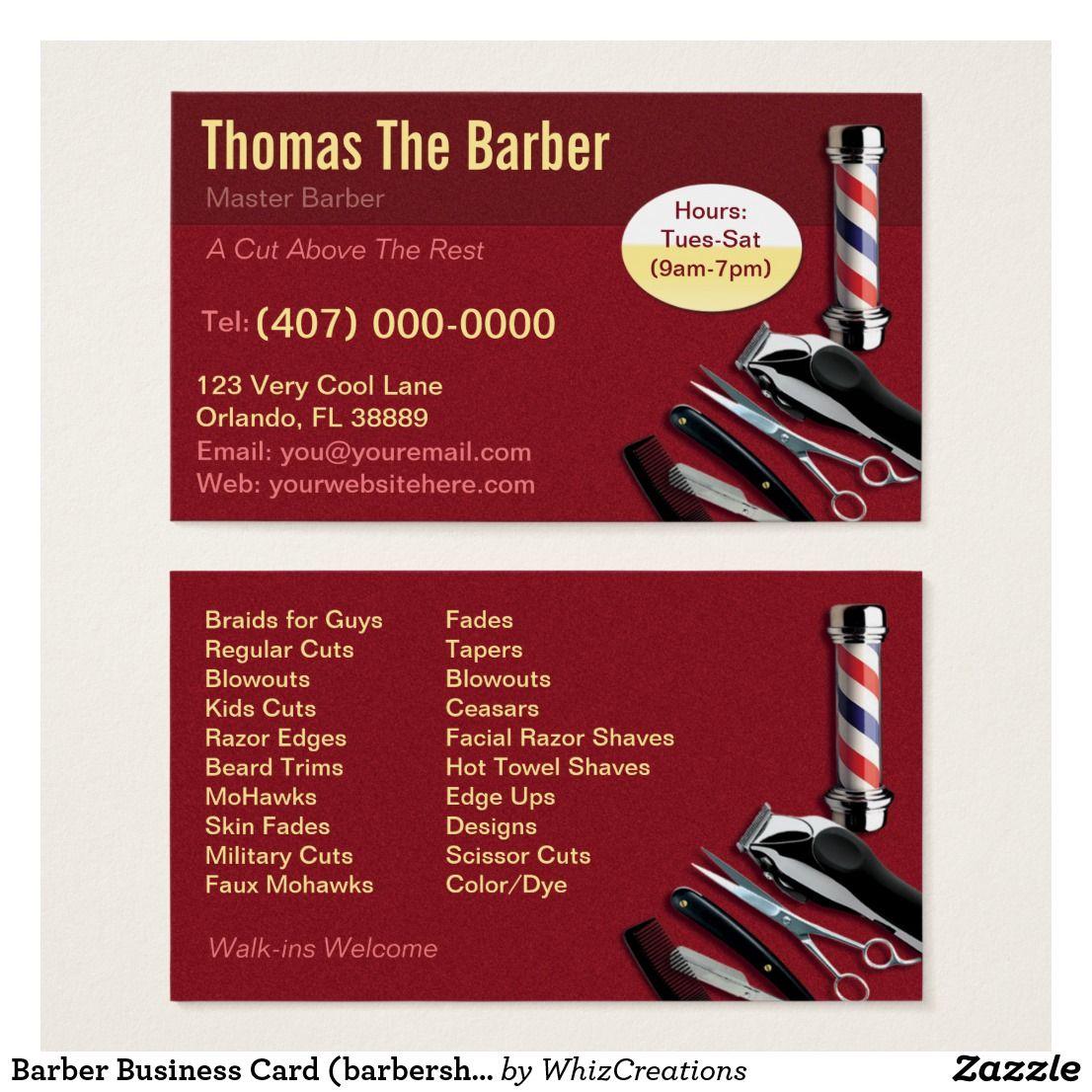 Barber Business Card (barbershop pole - clippers) | Barbershop