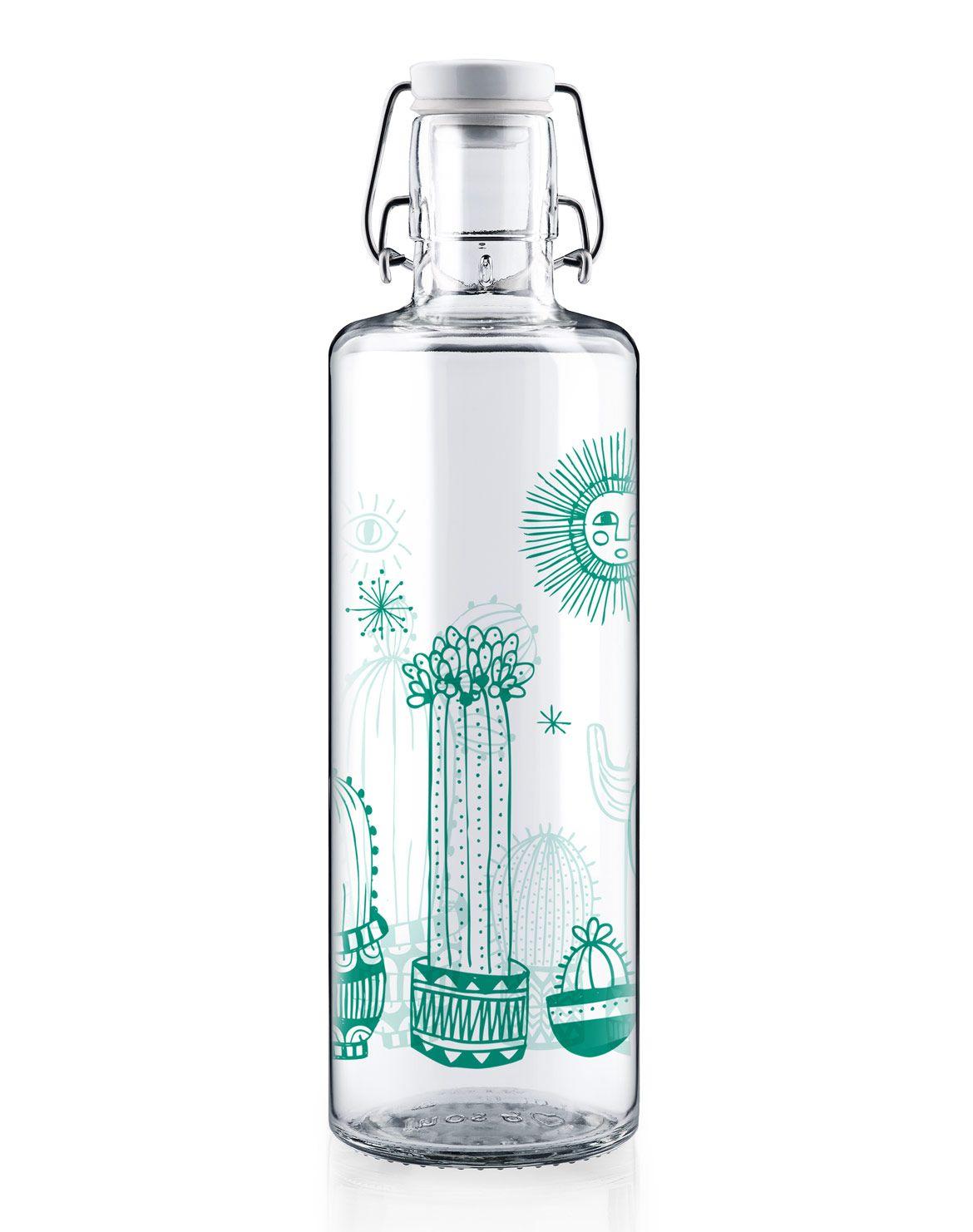 Soulbottle 1 Liter Cactuspower Soulbottle Trinkflasche Aus Glas Und Plastikfrei