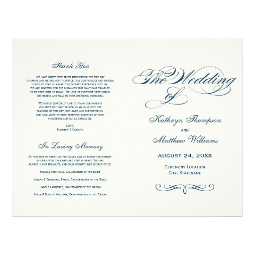 Wedding Programs  Navy Blue Calligraphy Design Flyer Design
