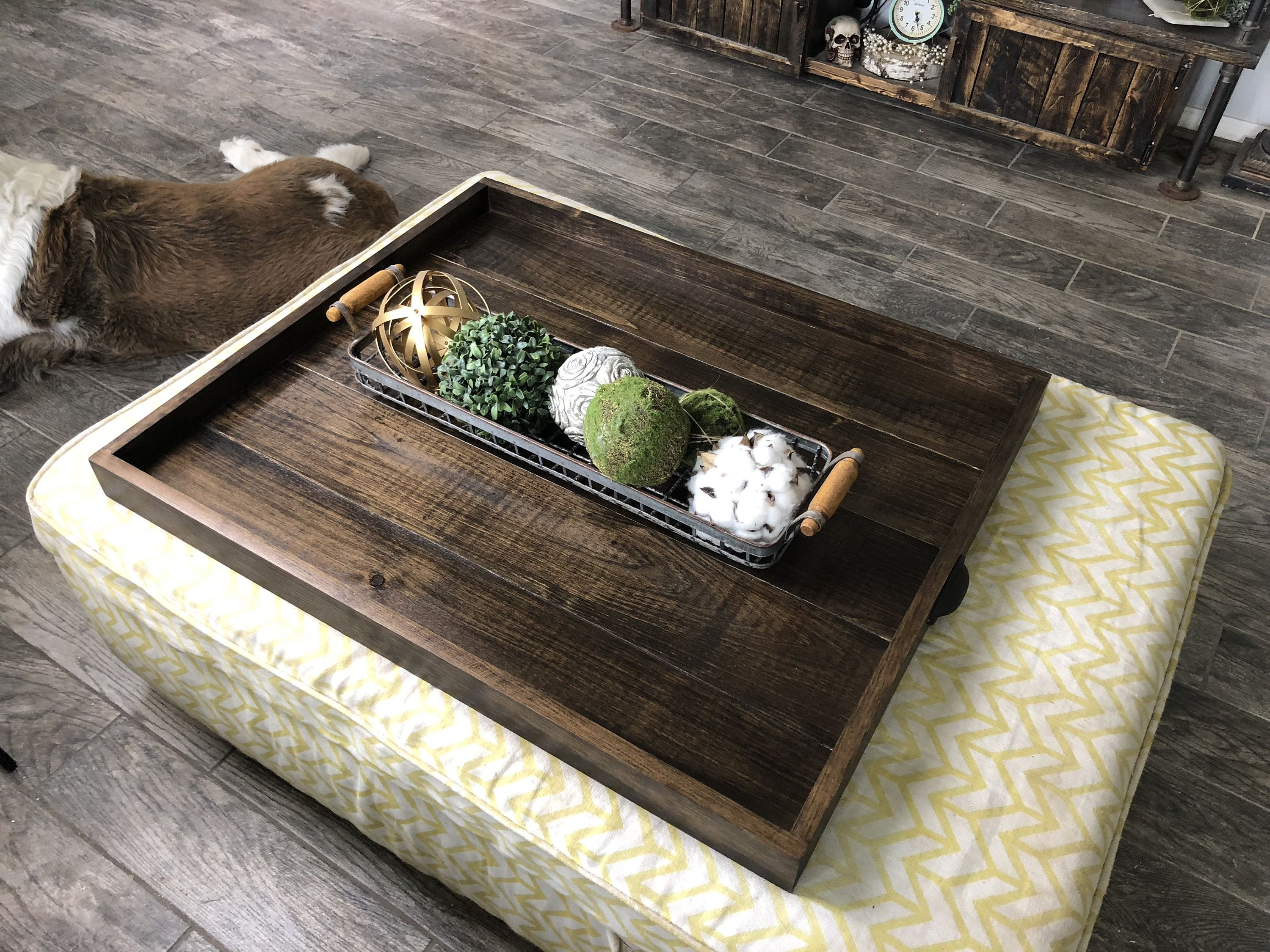 Ottoman Tray Oversized Handcrafted Wooden Ottoman Trays Etsy Ottoman Tray Diy Home Furniture Table Serving Tray