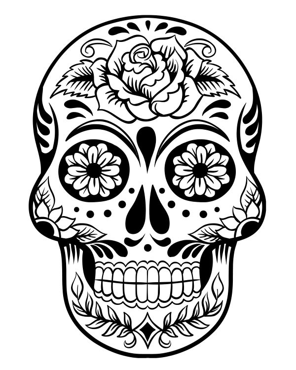 Printable Day of the Dead Sugar Skull Coloring Page #3
