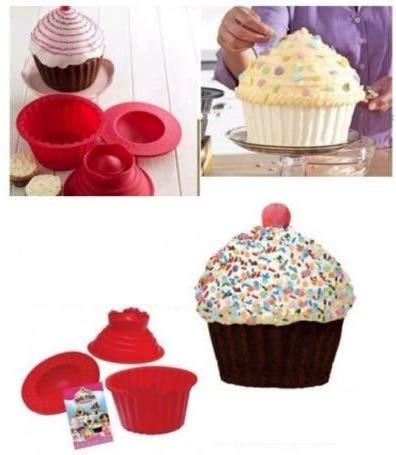 eoocvt 3 Pack Giant Big Silicone Cupcake Cake Mould Top Cupcake Bake Set Baking Mold