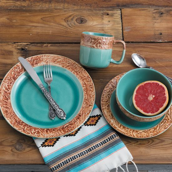Wyatt 16 Piece Dinnerware Set Westerndecor Southwestern Decorating Western Home Decor Arizona Decor
