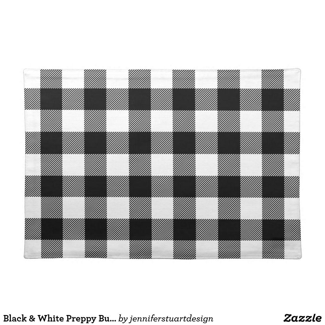 Black White Preppy Buffalo Check Plaid Placemat Zazzle Com Buffalo Check Plaid Placemats Kitchen Crafts Diy