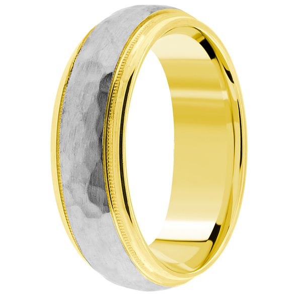 Anniversary 2 tone gold wedding bands