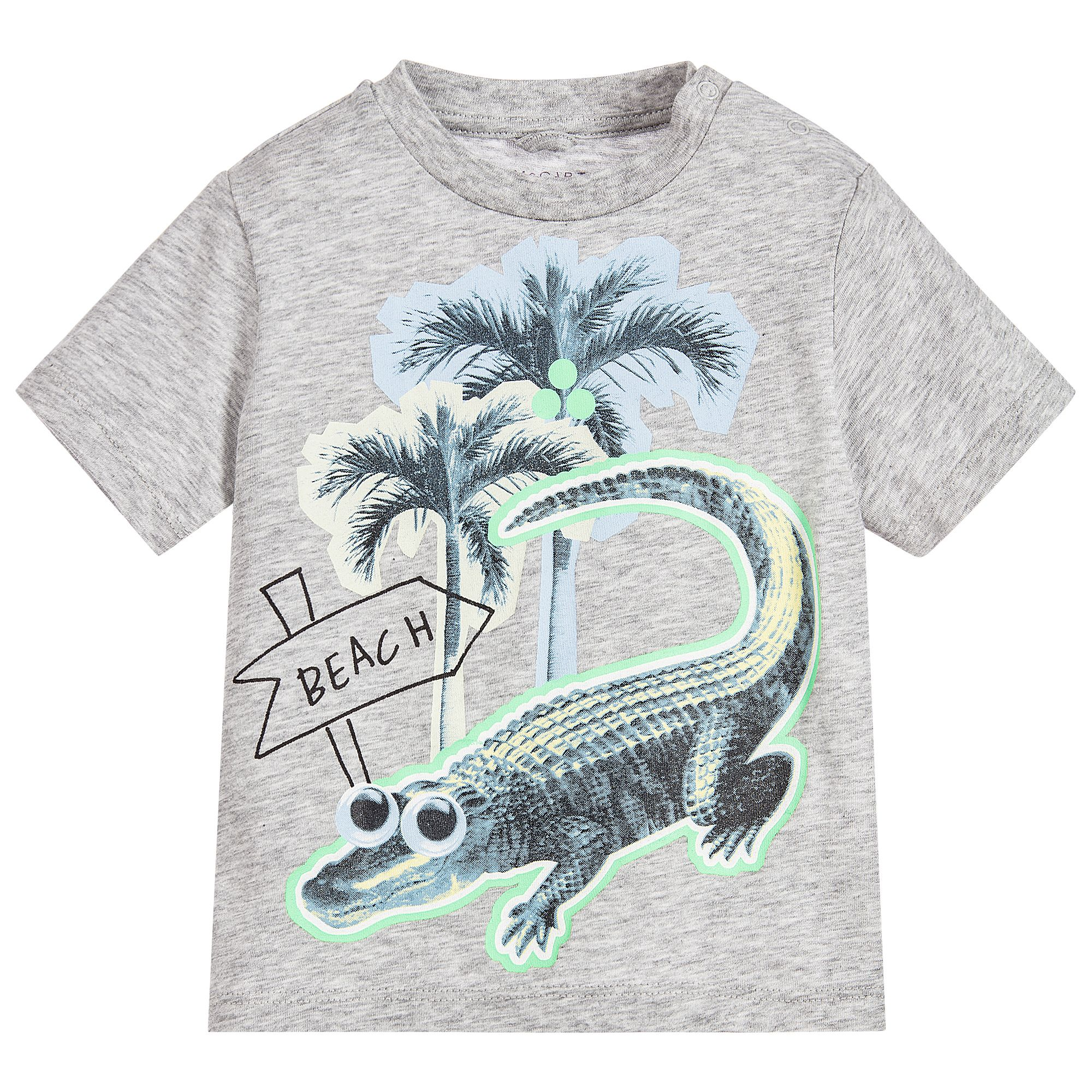 Baby boys grey 'Chuckle' t-shirt from Stella McCartney Kids. Made in soft organic cotton jersey, with a fun crocodile print and popper fastenings on one shoulder for easy dressing.