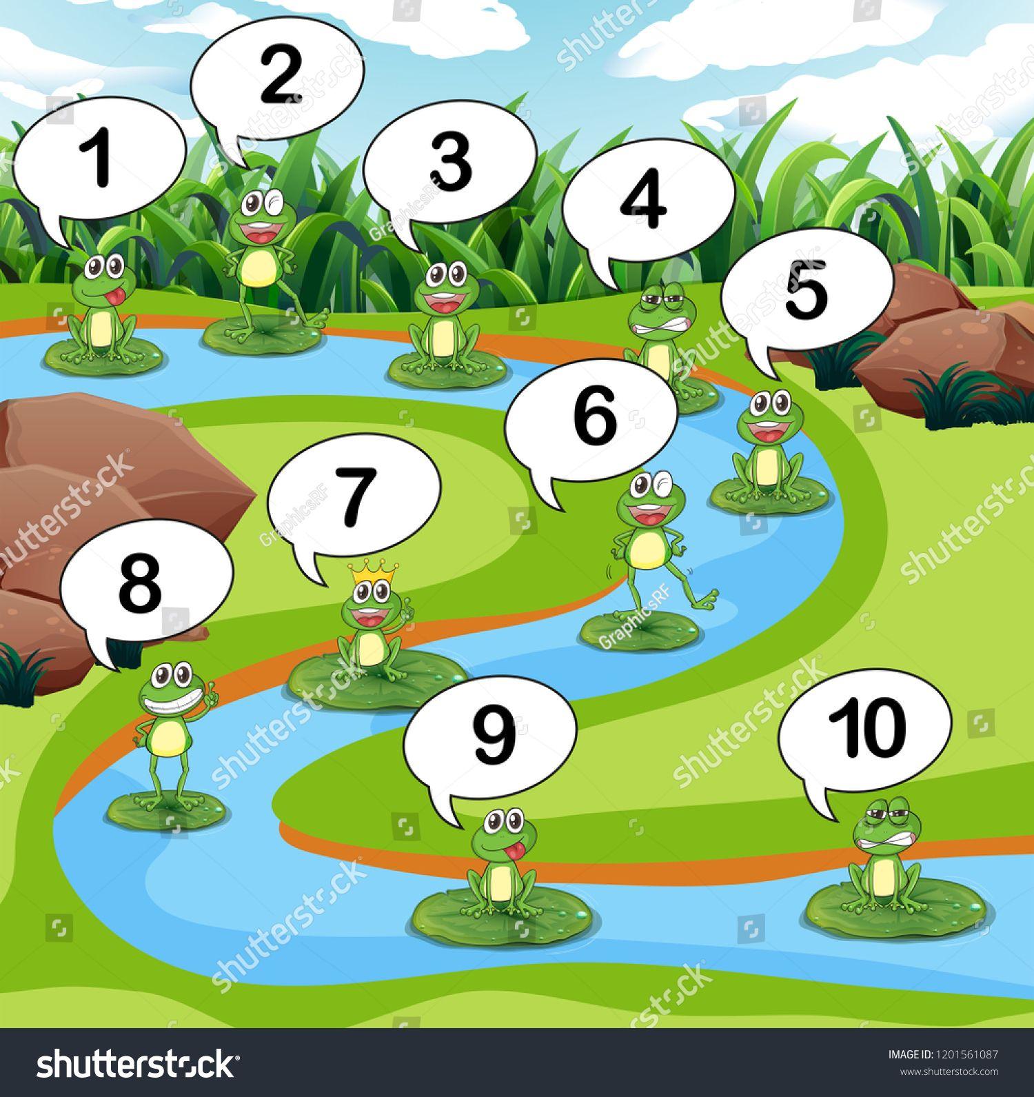 Frog Count Number At Pond Illustration Ad Spon Count