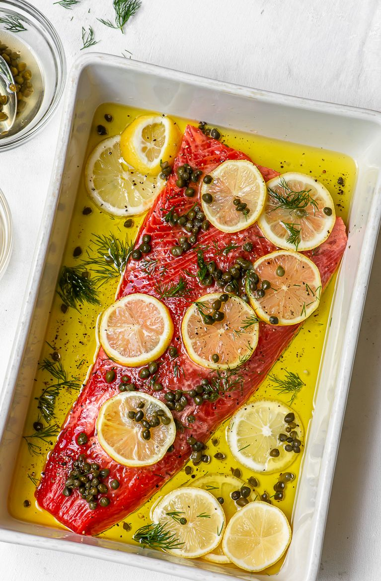 Photo of Slow Cooked Salmon with Lemons, Capers, and Dill