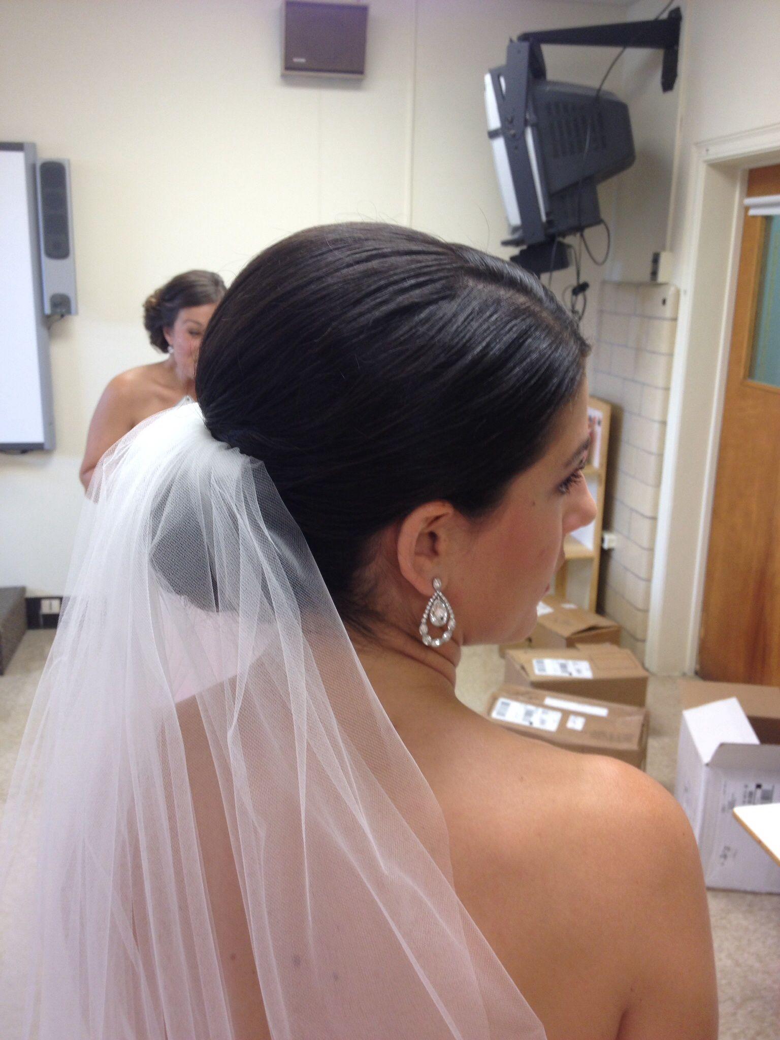 bridal hair, low bun, with veil. | hair by niki | veil