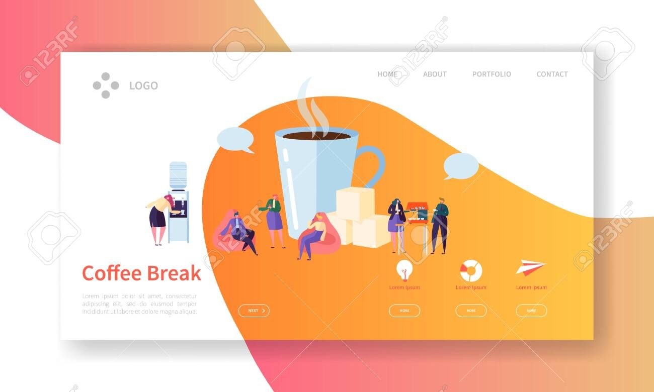 Business Coffee Break Landing Page Lunch Time Banner with Flat People Characters Website Template Easy Edit and Customize Vector illustration