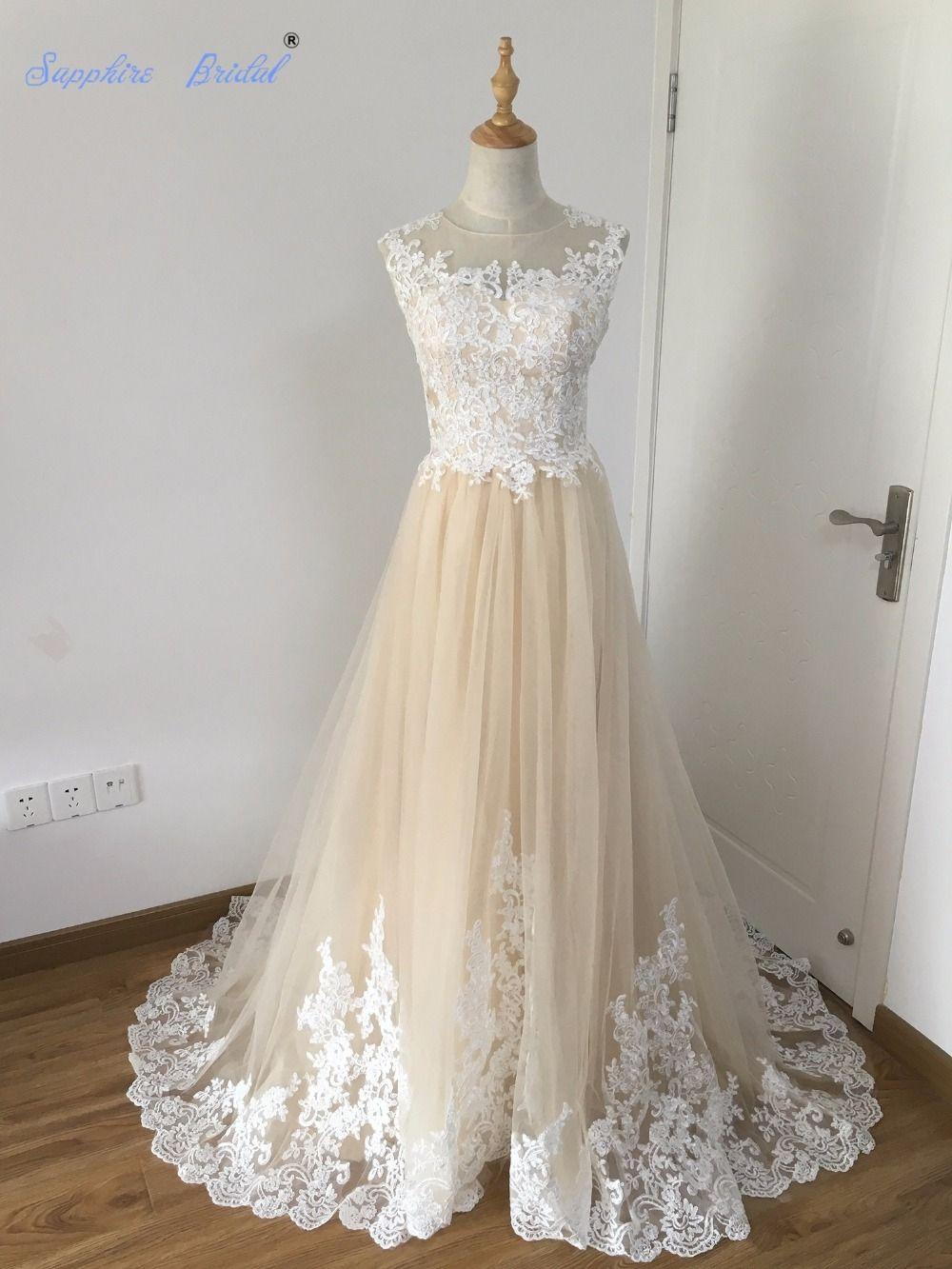 Champagne and ivory wedding dress  Sapphire Bridal  Real Photo Vestido De Noiva Champagne White