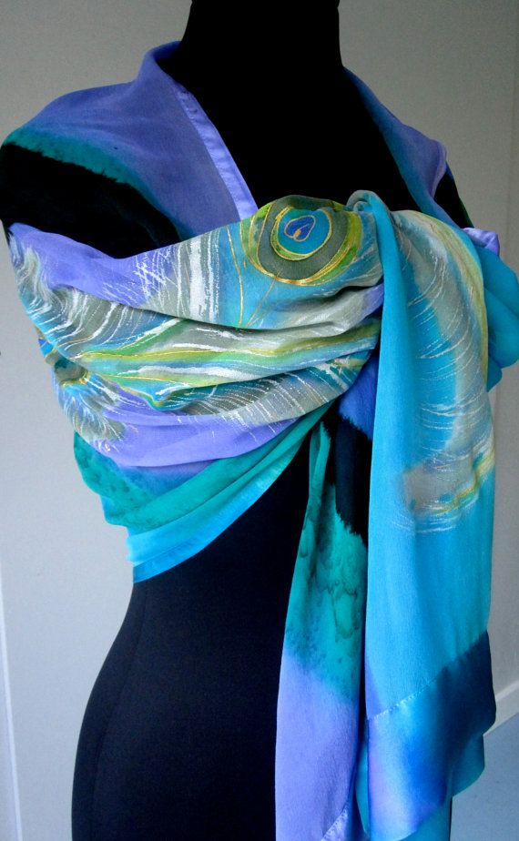 Vibrant hand painted peacock motif on a turquoise blue background of hand painted silk chiffon. Turquoise PEACOCK FEATHER Motif Satin Trimmed Shawl