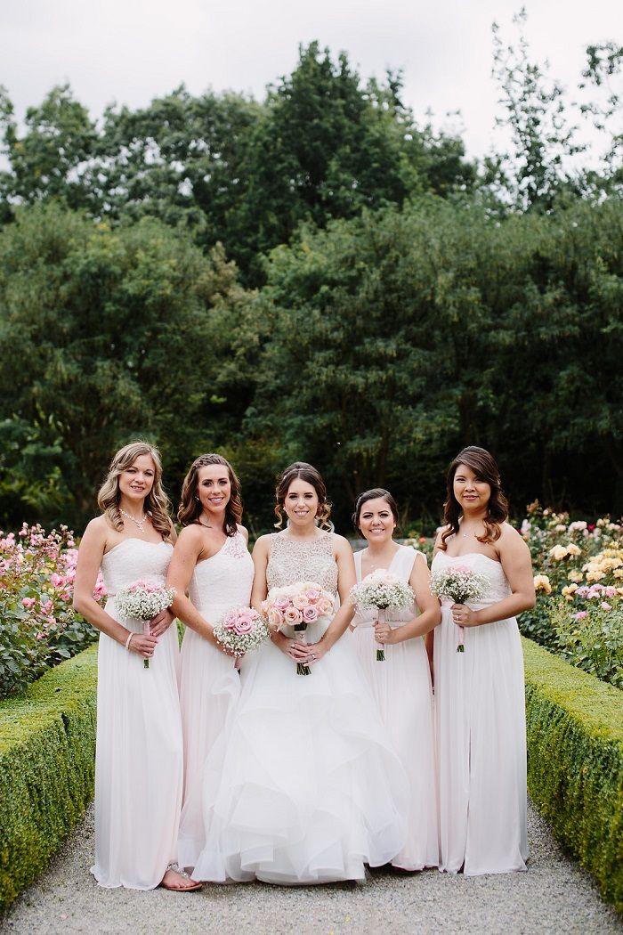Bride and white bridesmaid dresses for June Wedding   fabmood.com