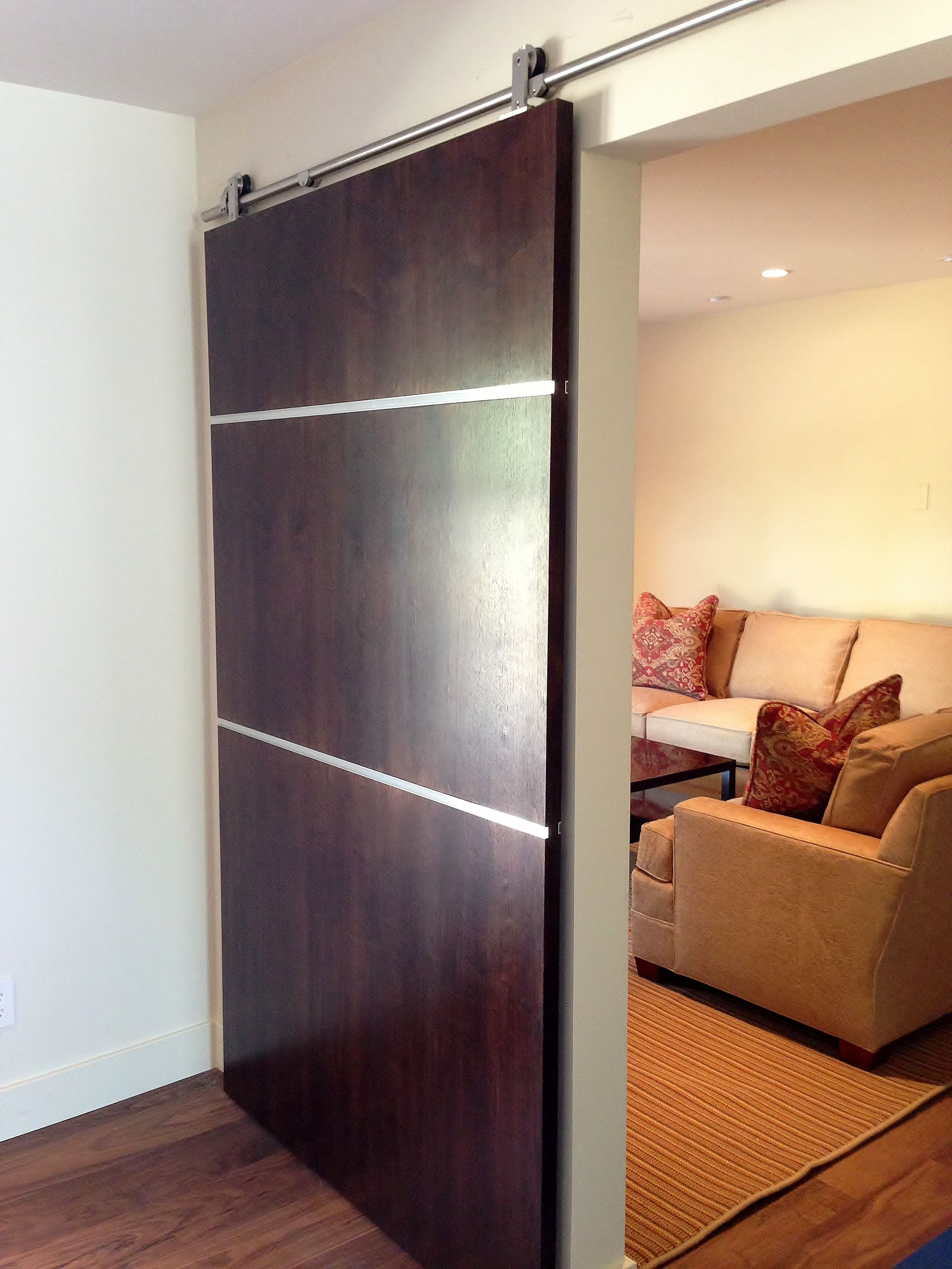 Contemporary sliding barn door an original custom - Bedroom cabinets with sliding doors ...