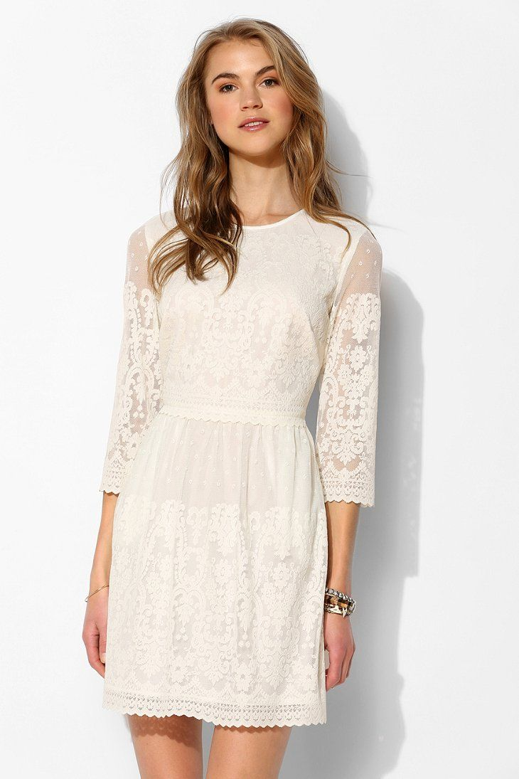 Dv by dolce vita val sleeve lace shift dress whites