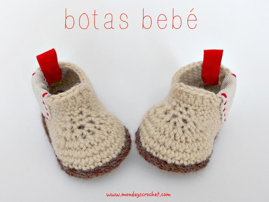 Botas para bebé de 6 meses. Patrón gratuito / Booties for babies ...