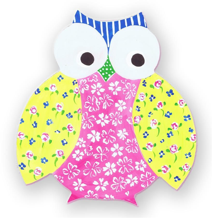 Multi Floral Owl Whimsical Die Cut Wall Plaque
