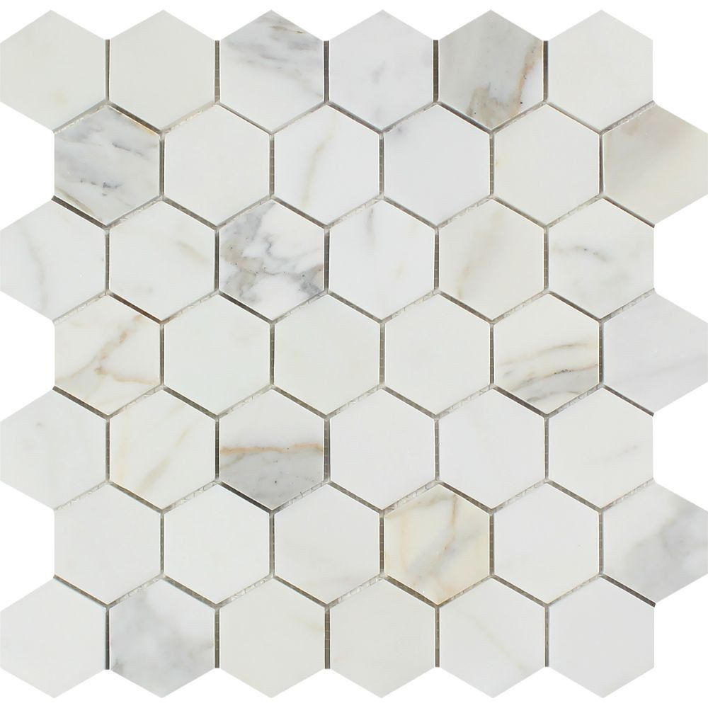 2 X Honed Calacatta Gold Marble Hexagon Mosaic Tile