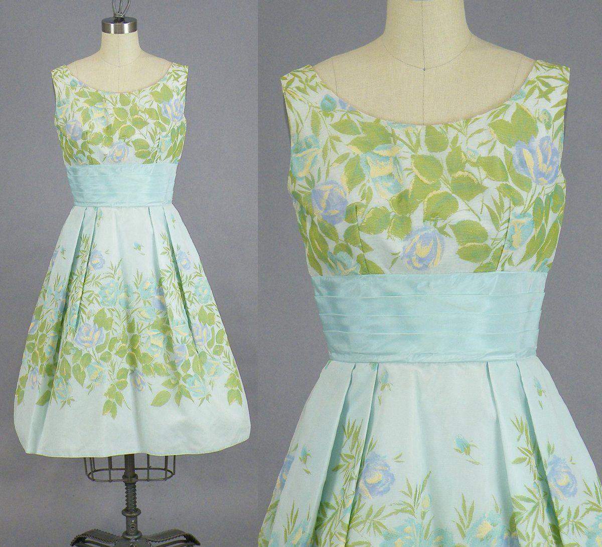 1960s Prom Dress, 60s Roses Dress, Vintage 60s Floral Party Dress ...
