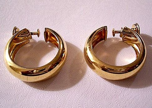 Monet Back Hoop Earrings Gold Tone Vintage Large Round Smooth