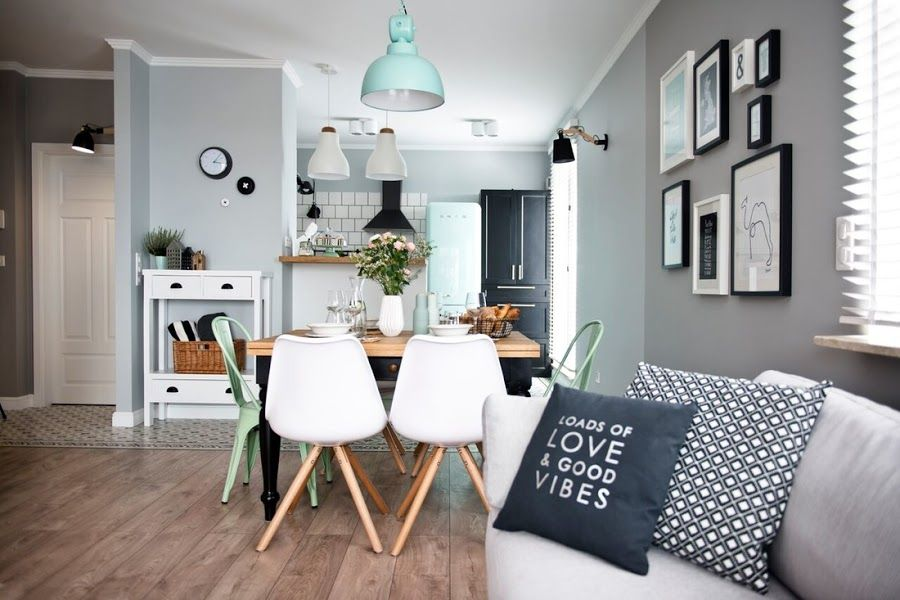 Blanco, gris y mint Pinterest Swedish kitchen, Office spaces and