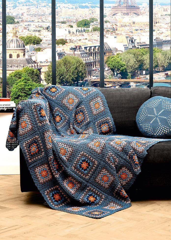 Granny-Square Decke - kostenlose Häkelanleitung #crochetyarn