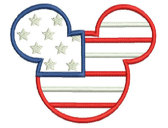 Instant Download Machine Embroidery Design Mickey Mouse Patriotic Applique 4x4, 5x7 and 6x10 Hoop