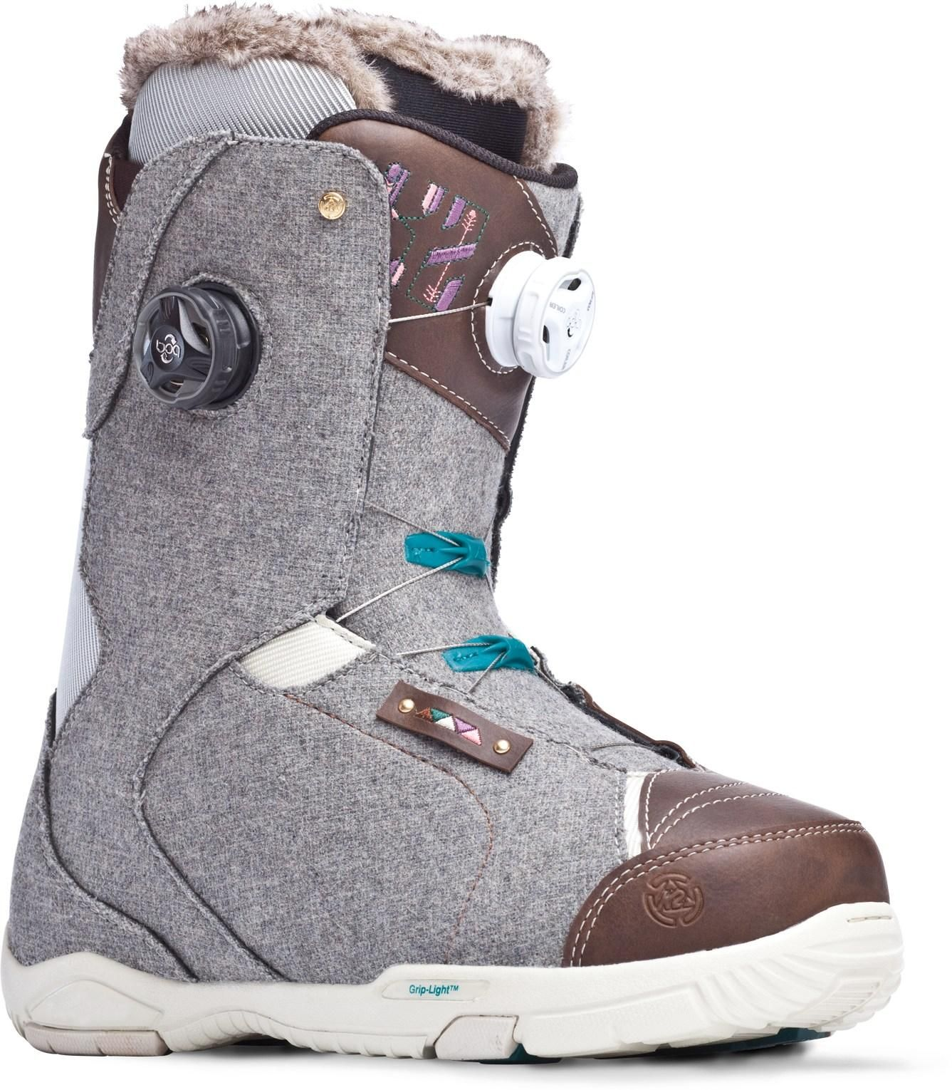 cab2760001b9a The high-end K2 Contour women's snowboard boots feature the Boa® Conda™  liner lacing system to lock down your heels, giving you amazing control  when ripping ...