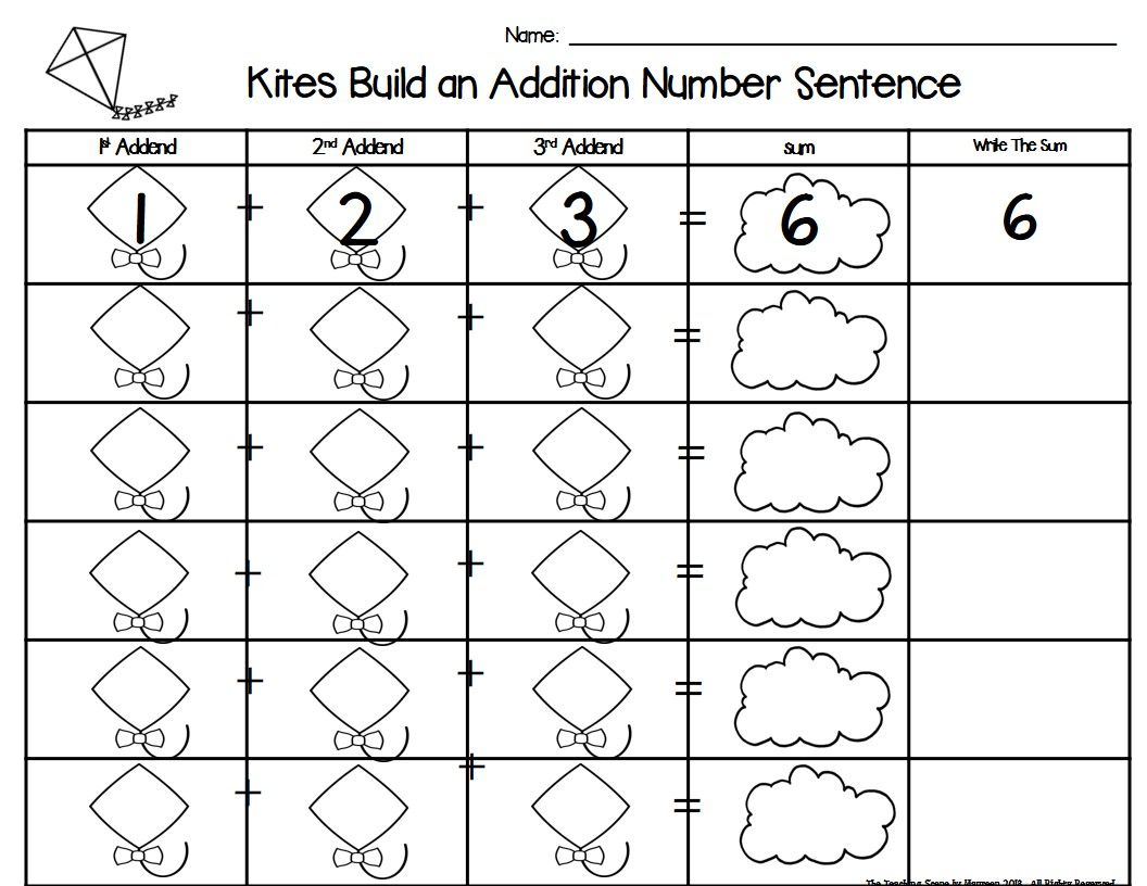 Kites Build 3 Addend Addition Amp Subtraction Number