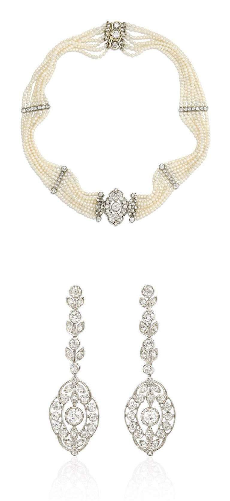 Edwardian Seed Pearl and Diamond Choker with Earrings En Suite. An Edwardian…