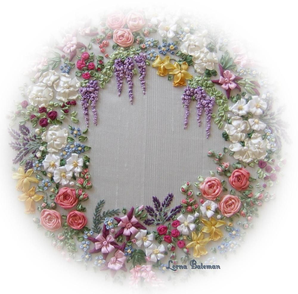 Spring garland of flowers garlands flowers and embroidery stitches